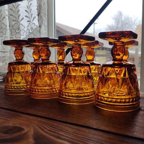 Additional 4 Park Lane Amber glass goblets